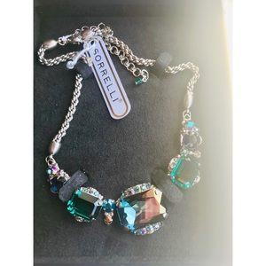SORRELLI || bold bordered crystal necklace emerald